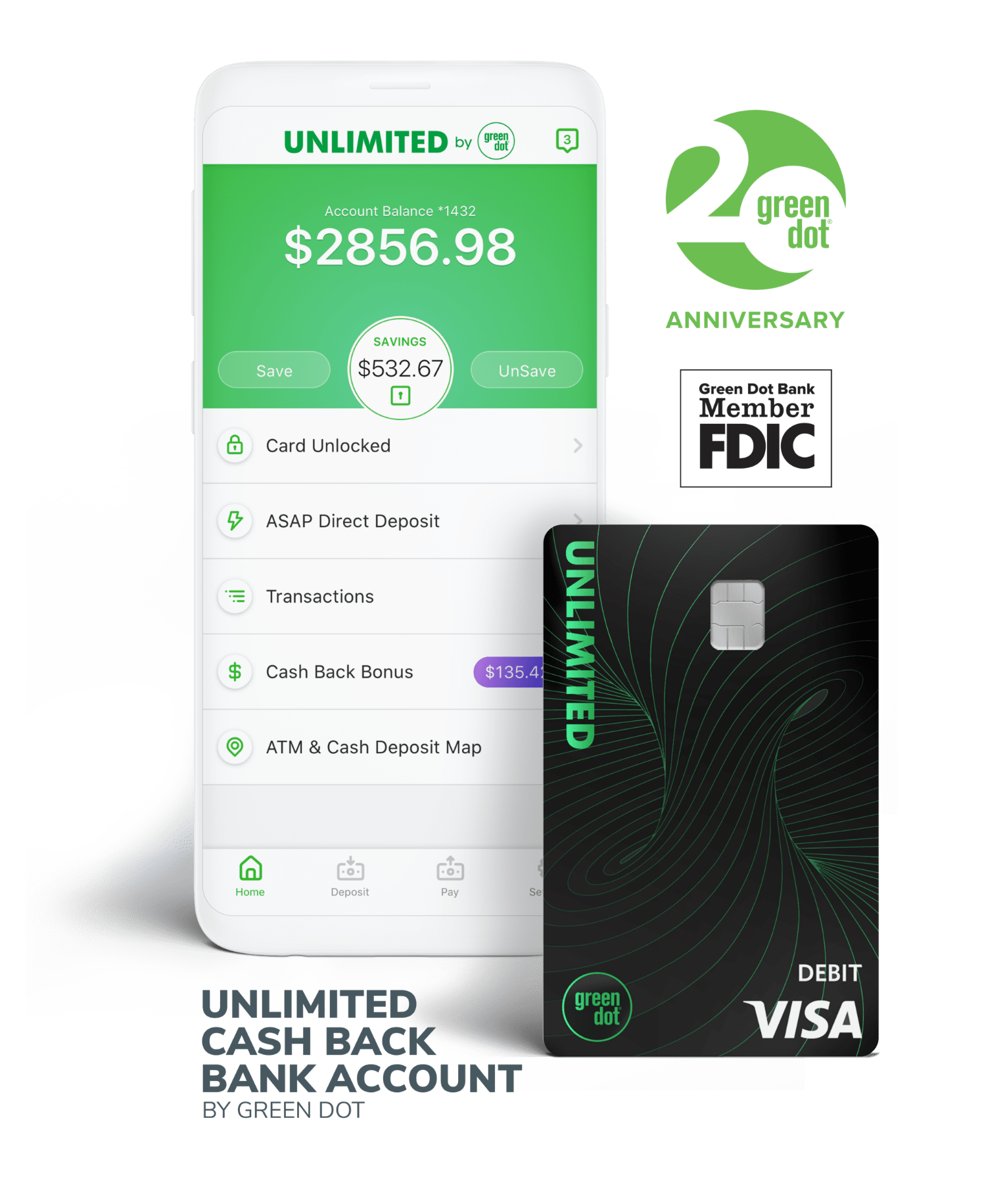 Green Dot - Unlimited Cash Back Mobile Account & Debit Cards