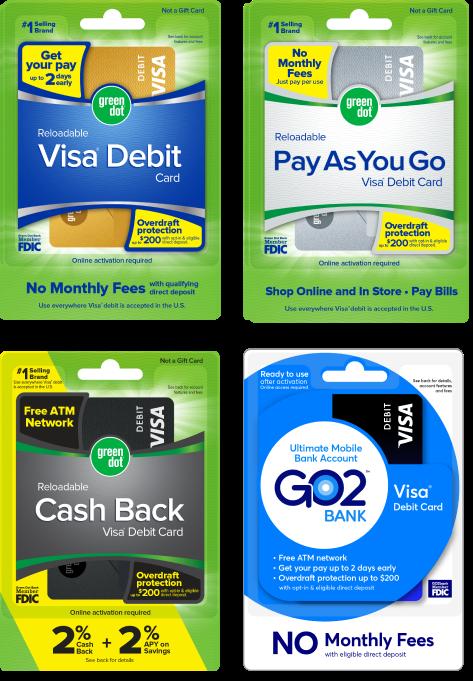 Green Dot Cash Back Mobile Account Debit Cards
