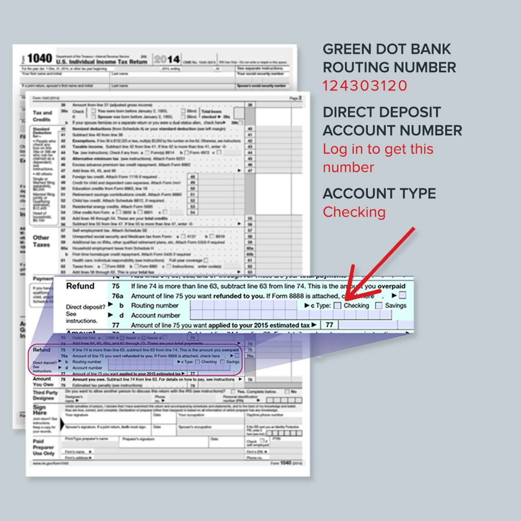 1040 form showing how to get your tax refund direct deposited to your Green Dot card account